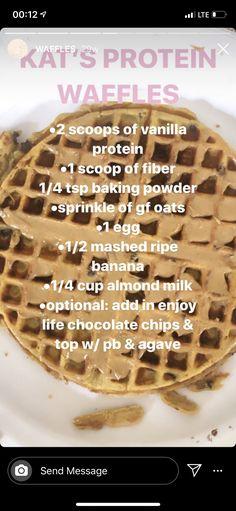 Protein Waffles, Protein Foods, Vanilla Protein Recipes, Milk Cup, Almond Milk, Banana, Chocolate, Breakfast, High Protein Foods
