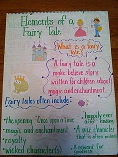 Anchor Chart: Elements of Fairy Tales (Writing Workshop for Young Adults Program Plan?) Great idea using clipart on an anchor chart Traditional Literature, Traditional Tales, Kindergarten Reading, Teaching Reading, Learning, Teaching Music, Teaching Ideas, Reading School, Reading Notes