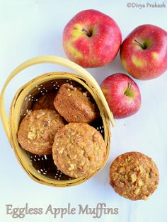 """Eggless apple muffins ..""""I substituted apple sauce for the apples"""" -EAS What are the ingredients needed? All purpose flour, 1 1/2 cup Baking soda, 1/2 tsp Baking powder, 1 1/2 tsp Ground cinnamon, 1 tsp Salt, 1/4 tsp Light brown Sugar, 3/4 cup Yogurt, 1/2 cup Oil, 1/2 cup Vanilla extract 1 1/2 tsp Grated apple, 1 cup Walnuts (chopped), to sprinkle on top of muffins"""