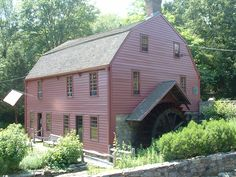 The birthplace and boyhood home of Gilbert Stuart, in Rhode Island. His father was a snuff maker, which accounts for the milling wheel. http://www.gilbertstuartmuseum.com/