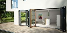 Solarlux \\ SL 97 Glas-Faltwand \\ Folding Glass Door SL 97 Wood / Aluminium for passive houses