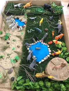Preschool animal habitats using sensorial materials. Animal Activities For Kids, Animal Crafts For Kids, Montessori Activities, Animal Projects, Preschool Activities, Preschool Jungle, Diy Pour Enfants, Zoo Crafts, Animal Habitats