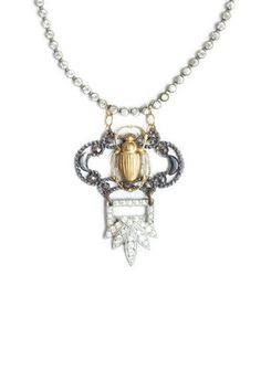 Rhinestone Beetle Necklace -- Glen & Effie