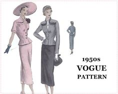 1940s Suit-Dress Sewing Pattern - Vogue 6806 - Misses' Suit-Dress, Jacket, Slim Skirt, Peplum, Collar - Size 16 Bust 34 - Factory Folds by EightMileVintageSews on Etsy