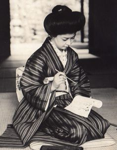Writing a love letter.  1914-1918, Japan.  Image via A.Davey of Flickr
