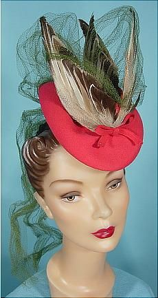 "1940's Berger's, Buffalo, New York Raspberry Felt Doll's (""Tilt"") Hat with Huge Bird Feather Wings and Netting very cool hat"