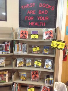 Banned book week library display! These books may be bad for your health..... Read a banned book this month!