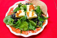 Grilled Haloumi Cheese Salad with Toasted Pita