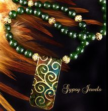 Patina Copper Pendant Necklace with Canada Jade
