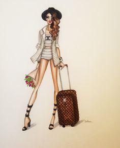 FashionIllustrationPrint-Chanel Girl by loveillustration on Etsy