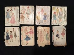 Vintage 1940s Lot~8 Girls Sewing Pattern Simplicity McCall Smocking Dress Gown