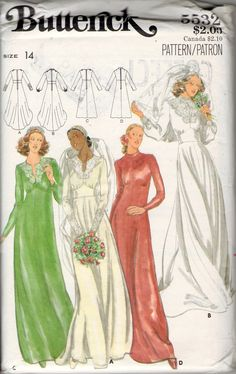 vintage Butterick 5532 sewing pattern // Misses' Bridal Gown