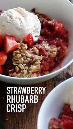 This easy Strawberry Rhubarb Crisp is so delicious and the perfect treat for every strawberry rhubarb lover. Strawberry Rhubarb Crisp by Also The Crumbs Please Summer Dessert Recipes, Fruit Recipes, Sweet Recipes, Delicious Desserts, Cooking Recipes, Yummy Food, Ruhbarb Recipes, Apple Recipes, Tasty