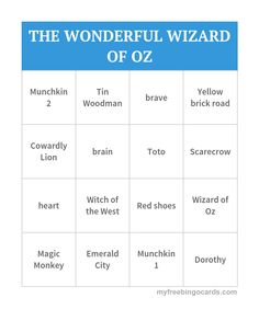 THE WONDERFUL WIZARD OF OZ BINGO