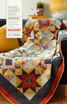 Picnic Basket Quilt Pattern featuring BasicGrey's PB and designed by Amy Friend, During Quiet Time