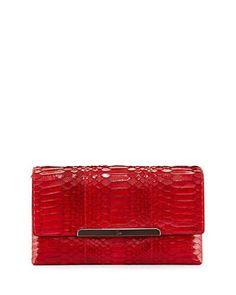 Christian Louboutin Rougissime Python Clutch Bag, Red
