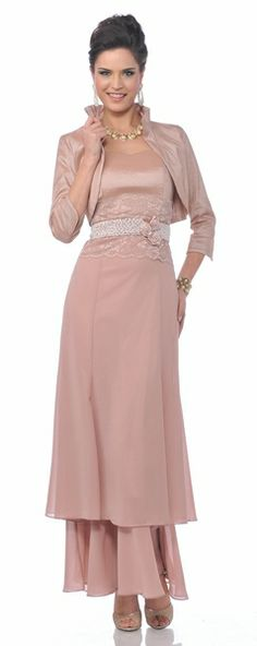 Modest Dusty Rose Mother of Bride Dress Lace Waist Includes Jacket $237.99