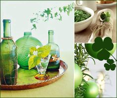 Today's event decor inspiration board challenge is inspired by St. Trish, from San Diego, requested ideas for a fun, casual get-together for f St Patrick Day Activities, Green Centerpieces, St Patrick's Day Decorations, St Patricks Day, St Pattys, Luck Of The Irish, Painted Mason Jars, Event Decor, Leaf Clover