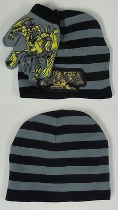 08f6c1a95f7d7 Boys Accessories 57881  Boy S Transformers Bumblebee Beanie Cap Hat Glove  Combo New Winter Weather
