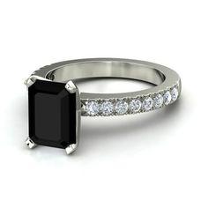 Emerald-Cut Black Onyx 14K White Gold Ring with Diamond - Vela Ring (9mm gem) | Gemvara