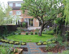 Circular lawn in rectangular garden