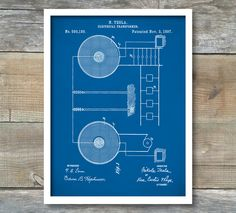 Patent Print, Tesla Electrical Transformer, Tesla Wall Art, Tesla Print, Tesla Patent, Tesla Poster, P281 by NeueStudioArtPrints on Etsy