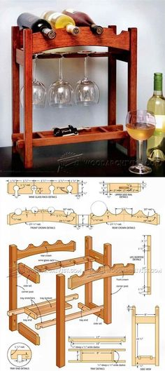 Wine Rack Plans - Furniture Plans and Projects - Woodwork, Woodworking, Woodworking Plans, Woodworking Projects Diy Projects Plans, Easy Wood Projects, Beginner Woodworking Projects, Furniture Projects, Wood Furniture, Woodworking Furniture Plans, Teds Woodworking, Muebles Art Deco, Wine Rack Plans