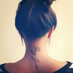 35 Splendid Back of Neck Tattoo Designs - font