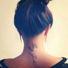 35 Splendid Back of Neck Tattoo Designs - font