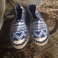 White and blue espadrilles Brand new!!! Never worn! Still in box! Beautiful white and blue espadrilles flats! Perfect for the fall and spring! Size 6 but can fit a 51/2 Qupid Shoes