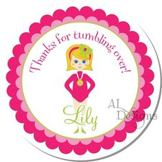Personalized Birthday Stickers  Gymnast  by Autumnleah on Etsy, $5.50