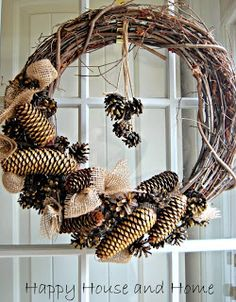 This rustic wreath was fun to make with my little one helping to gather the pine cones.
