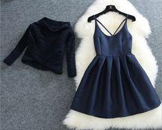 Blue Plain Condole Belt 2-in-1 Sweet Mini Dress
