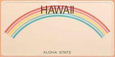 US - Nummernschild aus Hawaii - Aloha State . Original US - Nummernschild aus dem amerikanischen Bundesstaat Hawaii . Das Schild zeigt einen bunten Regenbogen und den