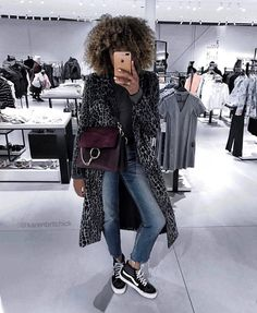 """765 Likes, 50 Comments - WhereDidUGetThat.com (@karenbritchick) on Instagram: """"Yesterday on Snapchat and Insta stories.  That velvet jumpsuit though 😳 . Coat: @hm (old) Jeans:…"""""""