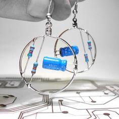 these sky blue resistor & capacitor hoop earrings are feelin' the geek <3 today :)
