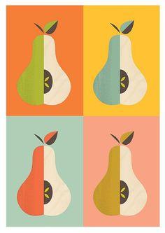 Kitchen print, scandinavian print, mid century modern, art for kitchen, pear… Mid Century Modern Art, Mid Century Art, Pop Art Decor, Decoration, Stoff Design, Fruit Illustration, Kitchen Prints, Retro Art, Grafik Design