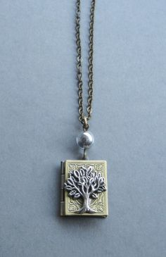 Tree of life locket necklace book style brass