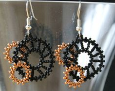 Triangle earrings beaded triangle earrings by PembrokeBeadwork