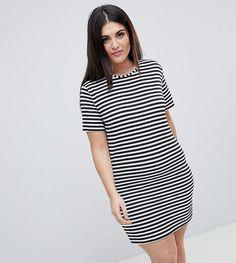 611655a2e57 Shop Boohoo Plus Stripe T-Shirt Dress at ASOS.