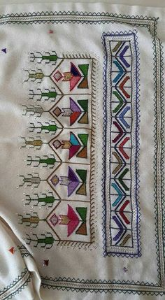 This Pin was discovered by esi Funny Cross Stitch Patterns, Cross Stitch Borders, Embroidery Patterns Free, Modern Cross Stitch, Cross Stitch Designs, Cross Stitch Embroidery, Hand Embroidery, Cross Stitch Landscape, Palestinian Embroidery