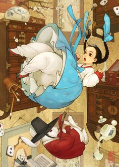 Alice's Adventures in Wonderland, 한복 앨리스, 韓服 アリス Digital drawing, 2011 The <Alice in Wonderland> is quite special to me. The scene the illustration is based on is one of the most well known in the book and has been illustrated by many people in the past. I was also very excited when I worked on it, and a lot of people loved this illustration. I wanted to visualize a passageway where people could imagine Alice falling from one world to a completely different one wearing Hanbok. 저한테 특별한 작...