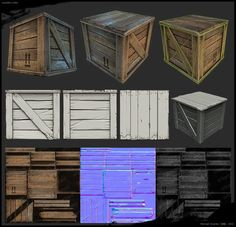 """I'm a french environment artist working for games and ,since i use zbrush a lot on my workflow, i decided to show some works i did last years. Those images are from a little game called """"Crasher"""". Wooden Crate 3d, Wooden Boxes, Unity 3d, Game Textures, Hand Painted Textures, Game Props, Game Environment, 3ds Max, Modelos 3d"""
