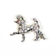 Rhinestone Poodle Brooch Silver Tone Sparkly by VintageMeetModern