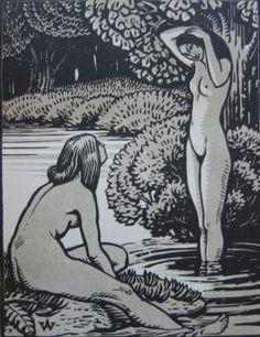 HENRI AMEDEE-WETTER – Au bord de l'eau, 1923