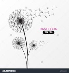 Dandelion Silhouette. Flying Dandelion Buds. Modern Design. Vector Illustration…