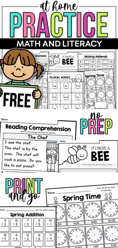 FREE Printable Worksheets - Math and Literacy - Distance Learning