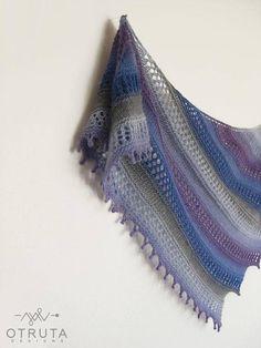 Lace hand knit shawl Gradient wool scarf Purple wedding wrap