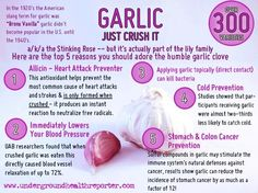 Health benefits of garlic -After watching Dr. Oz, I've been eating at least one clove of raw garlic each day! Healing Herbs, Natural Healing, Au Natural, Natural Beauty, Holistic Healing, Raw Beauty, Natural Face, Get Healthy, Healthy Tips