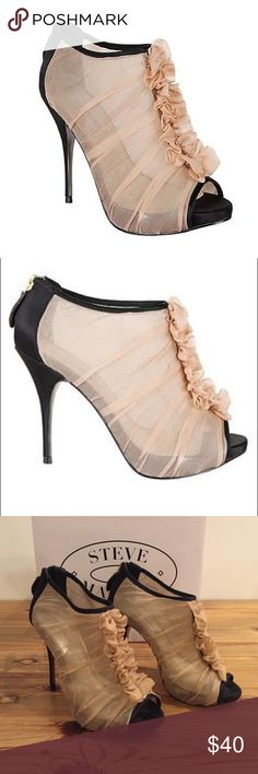Steve Madden Damsell in nude and black Light pink/nude and black fabric. 1/2 inch platform with 4.25 inch heel. Gold zipper on back. These were only worn once, but have sat around my closet for a while so there is wear from being shuffled around. Zoom in on pictures for details  Steve Madden Shoes